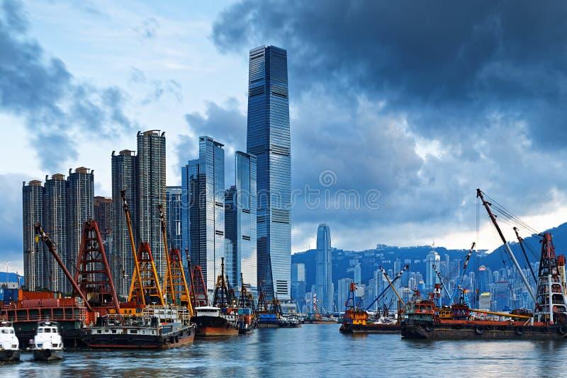 Hong Kong Harbor with cargo ship. International Commerce Center ICC Building Kowloon Hong Kong Harbor with cargo ship stock images