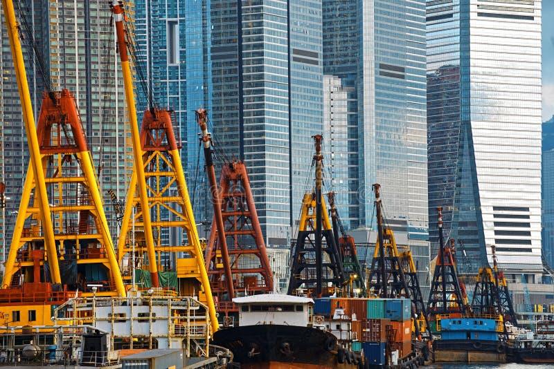 Hong Kong Harbor with cargo ship. International Commerce Center ICC Building Kowloon Hong Kong Harbor with cargo ship royalty free stock photo