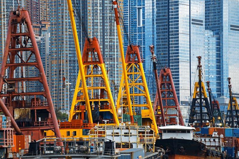 Hong Kong Harbor with cargo ship. International Commerce Center ICC Building Kowloon Hong Kong Harbor with cargo ship royalty free stock photography