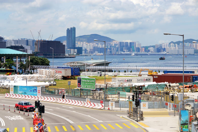 Hong Kong Harbor. Hong Kong, China: Cityscape and the harbor area in hong kong as seen from the city center royalty free stock photo