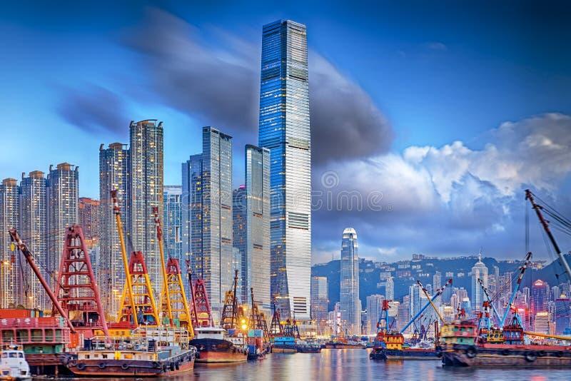 Hong Kong harbor. Hong Kong cityscape harbor view at sunset royalty free stock image
