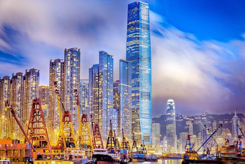 Hong Kong harbor. Hong Kong cityscape harbor view at sunset stock photo