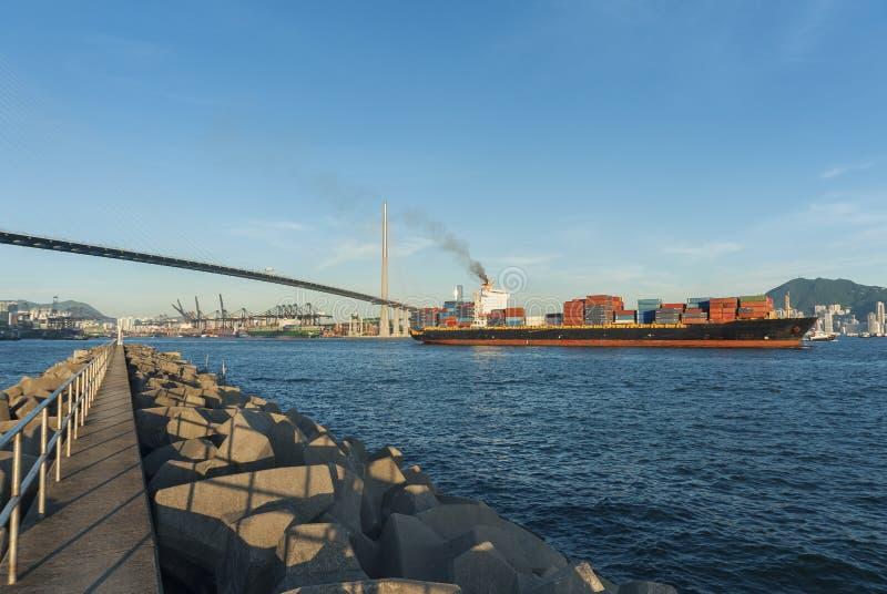 Hong Kong Harbor. Container ship in Hong Kong Harbor stock images