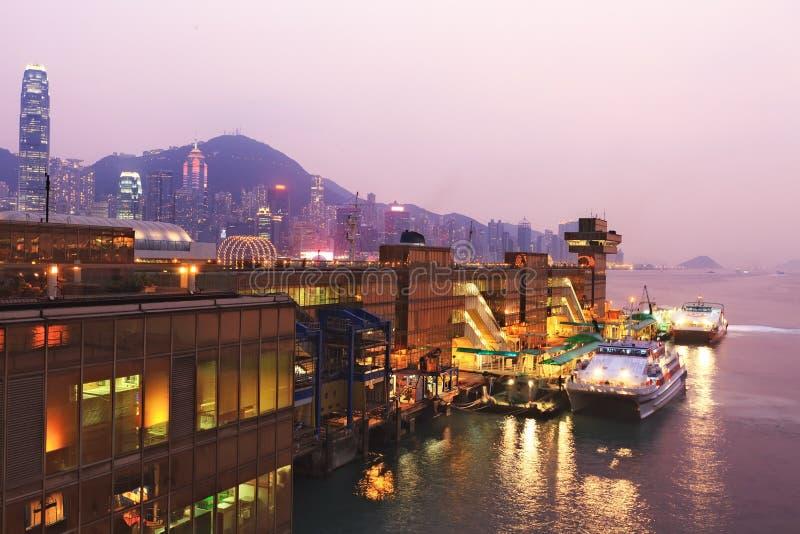 Hong Kong harbor ferry. China Hong Kong harbor ferry at night time royalty free stock photography