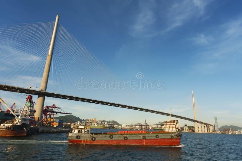 Hong Kong Harbor. Industrial ship in Hong Kong Harbor stock photography