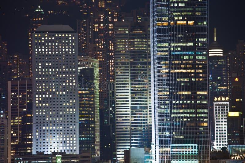 Hong Kong Harbor Laser Show. KOWLOON, HONGKONG - January 07: view after Hong Kong Harbor Laser Show to Skyline of Victoria by night January 07,2010, Kowloon stock image