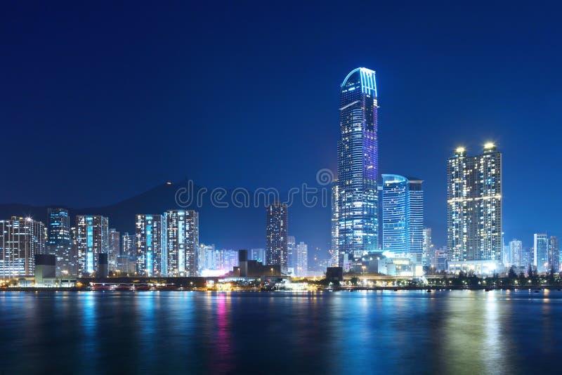 Hong Kong harbor. At night royalty free stock photos