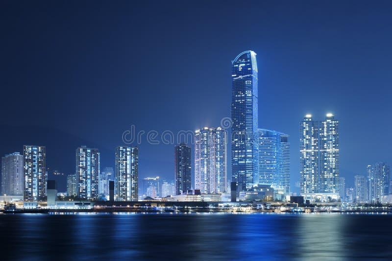 Hong Kong Harbor. At night stock image