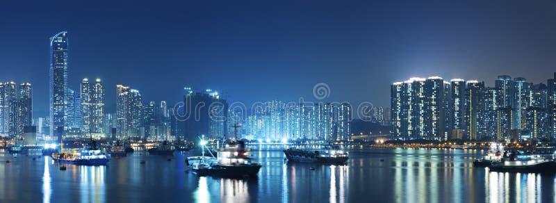 Hong Kong harbor. At night stock photography