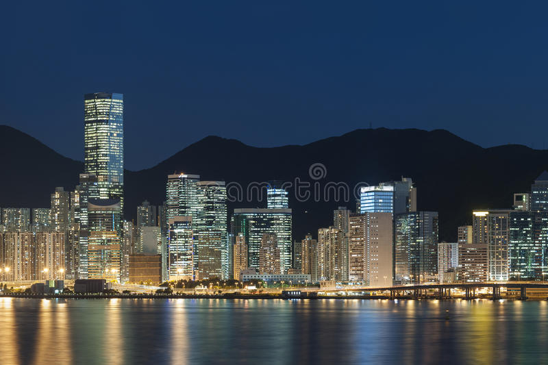 Hong Kong Harbor. At night stock photo