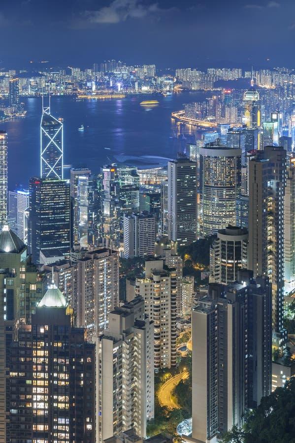 Hong Kong Harbor at night. Victoria Harbor of Hong Kong stock image