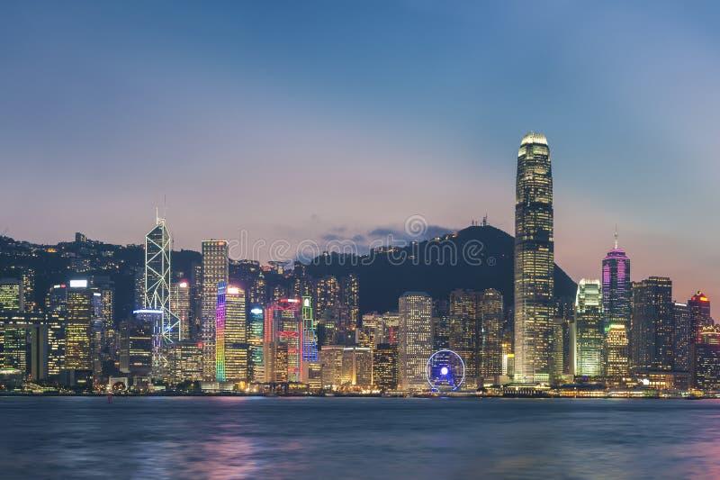 Hong Kong harbor. Panorama of Victoria Harbor in Hong Kong at dusk stock image