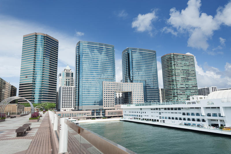 Hong Kong Harbor. Pier in Hong Kong Harbor stock photography