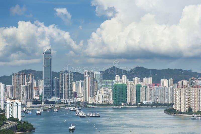 Hong Kong Harbor. Harbor and skyscraper in Hong Kong City stock photo
