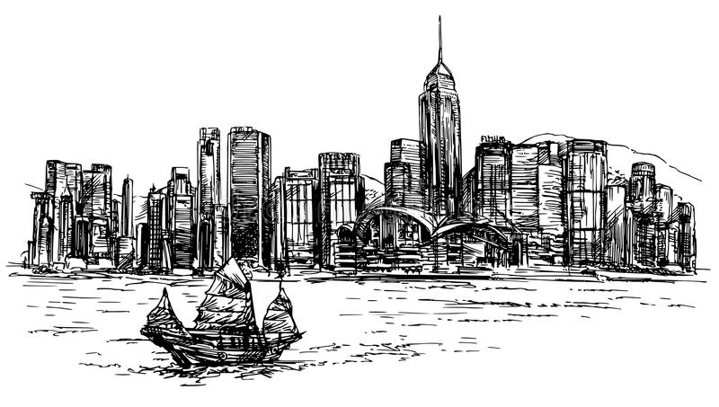 Hong Kong harbor, tourist junk. vector illustration