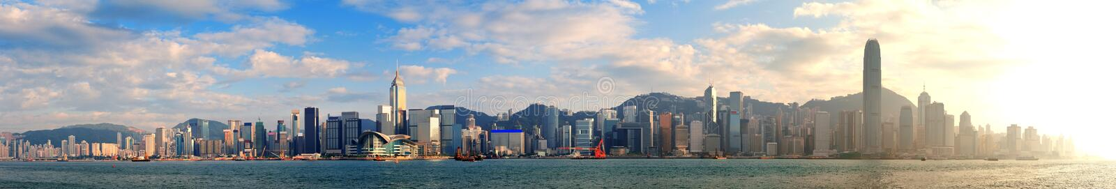 Hong Kong Harbor. Hong Kong Victoria Harbor in afternoon with urban city skyline and colorful cloud stock photos