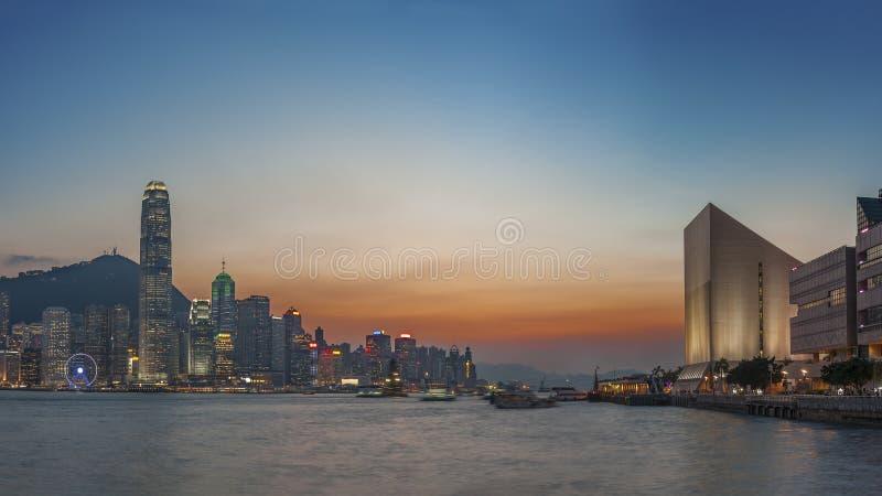 Hong Kong harbor. Victoria Harbor of Hong Kong city at dusk stock photos