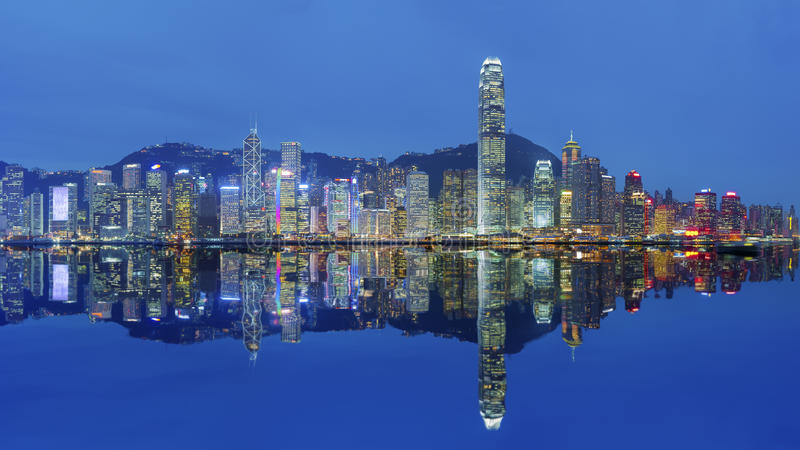 Hong Kong harbor. Victoria Harbor of Hong Kong at dusk stock images