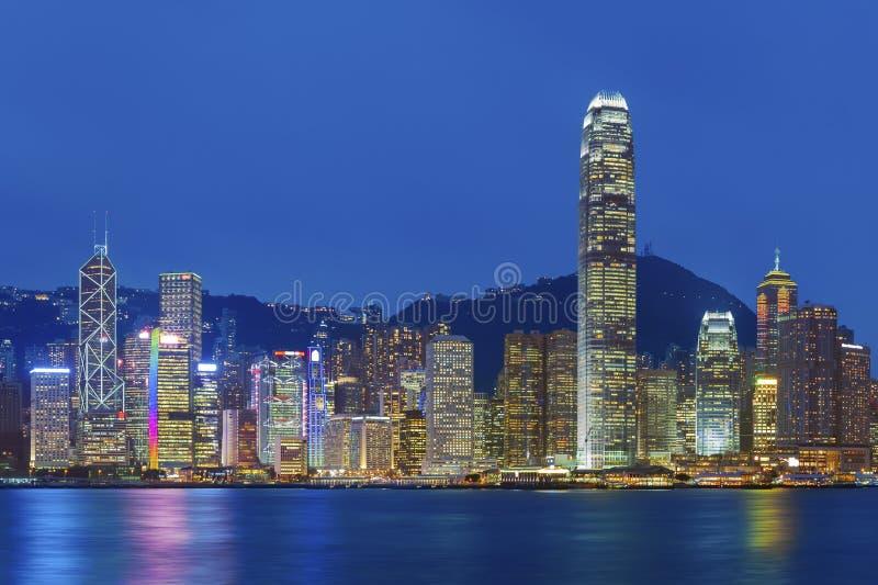 Hong Kong harbor. Victoria Harbor of Hong Kong at night stock images