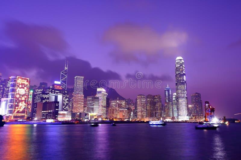Hong Kong harbor view. At night stock photo