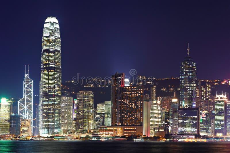 Hong Kong harbor view. At night royalty free stock photos