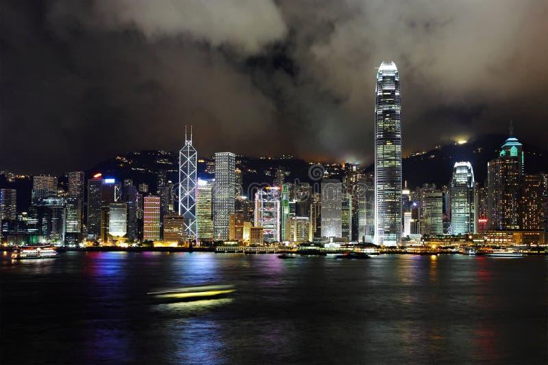 Hong Kong harbor view. At night royalty free stock photography
