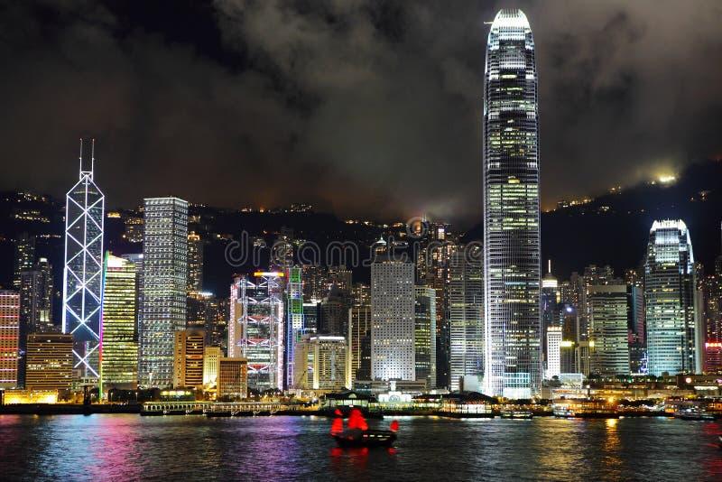 Hong Kong harbor view. At night stock image