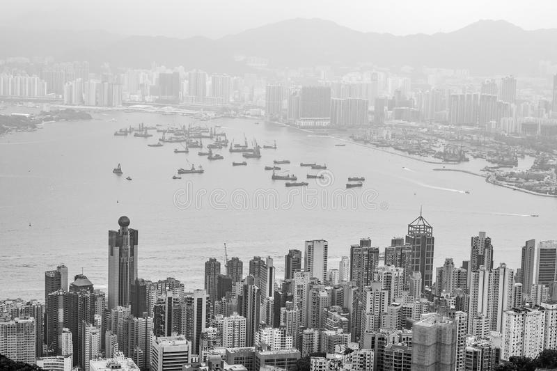 Hong Kong harbour Black and White royalty free stock image