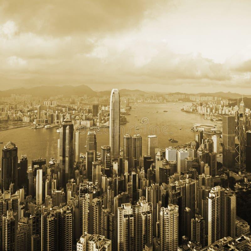 Hong Kong Harbour Sepia Toned fotografia stock libera da diritti