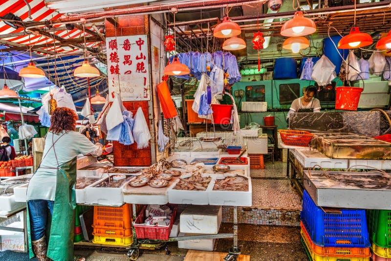 Hong Kong Historic Landmark: Graham Street Wet Market royaltyfria bilder