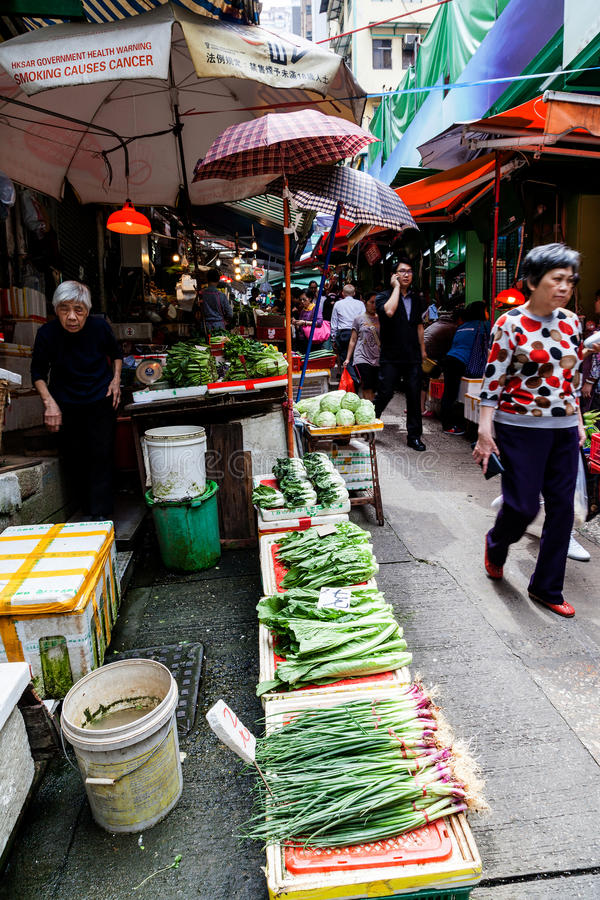 Hong Kong Historic Landmark : Graham Street Wet Market photographie stock libre de droits