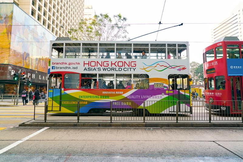 Hong Kong. CHINA - CIRCA JANUARY, 2019: typical HKT double-decker trams in  in the daytime stock photo