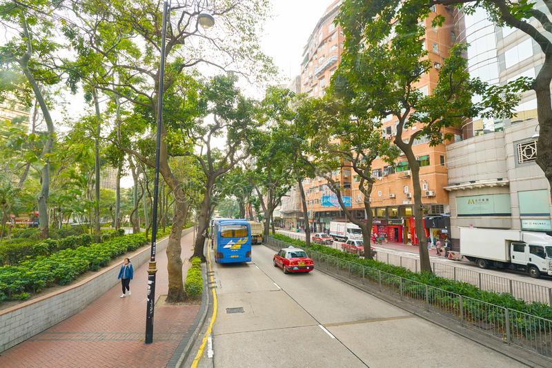 Hong Kong. CHINA - CIRCA JANUARY, 2019: view seen from second desk of double-decker bus in  in the daytime stock images
