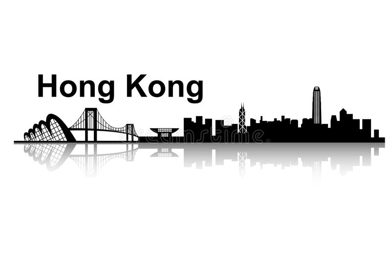 Hong Kong horisont stock illustrationer
