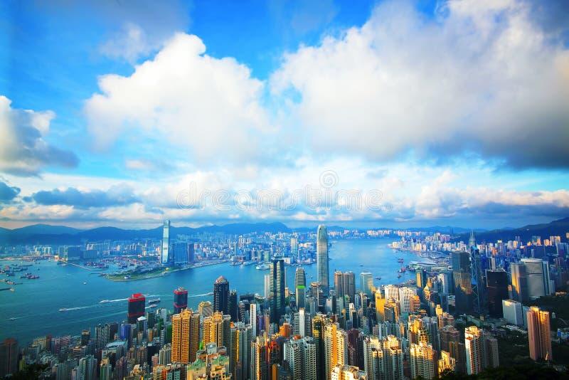 Hong Kong horisont från Victoria Peak royaltyfria bilder