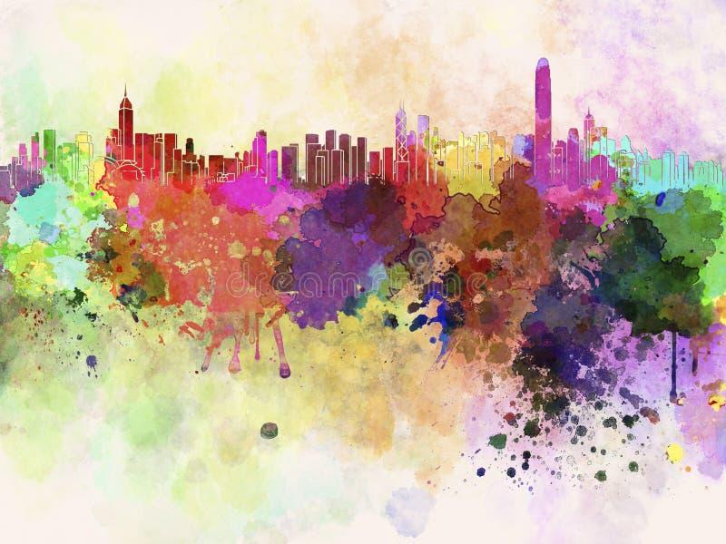 Hong Kong horisont i vattenfärgbakgrund royaltyfri illustrationer