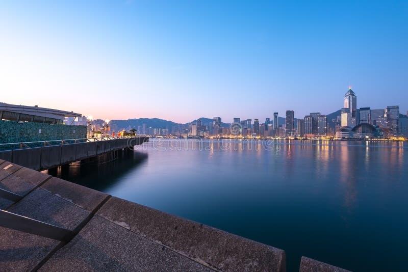 Hong Kong horisont på soluppgång arkivfoton