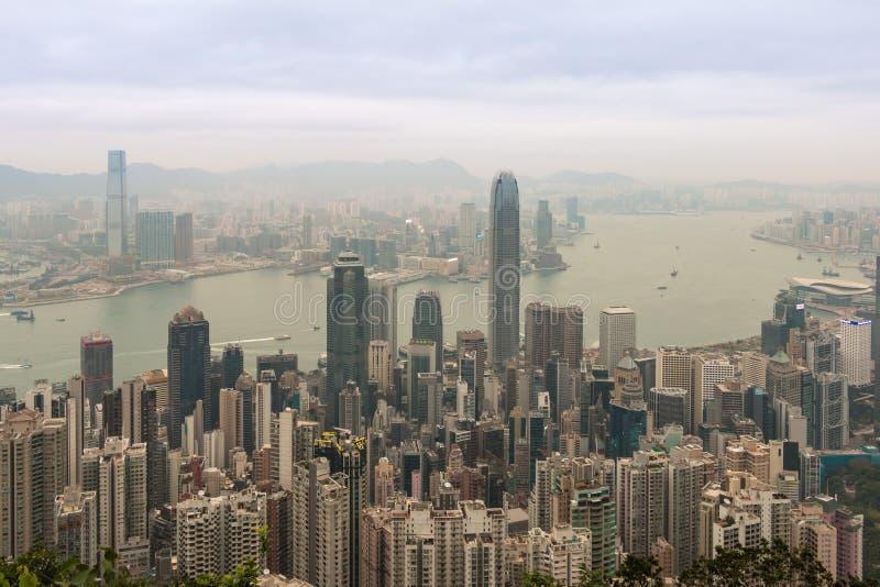Hong Kong horisont, sikt från Victoria Peak royaltyfri bild