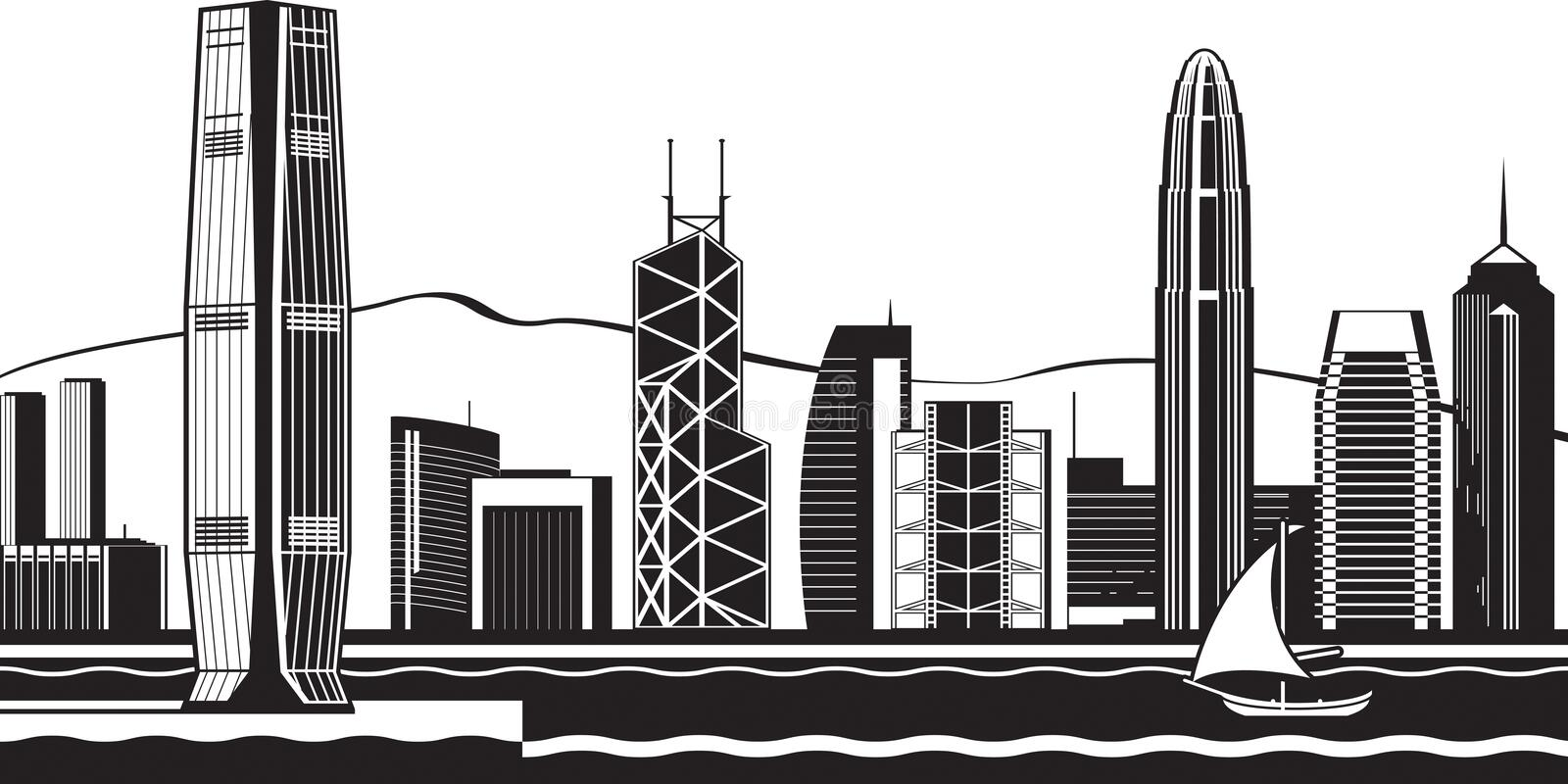 Hong Kong horisont vid dag stock illustrationer