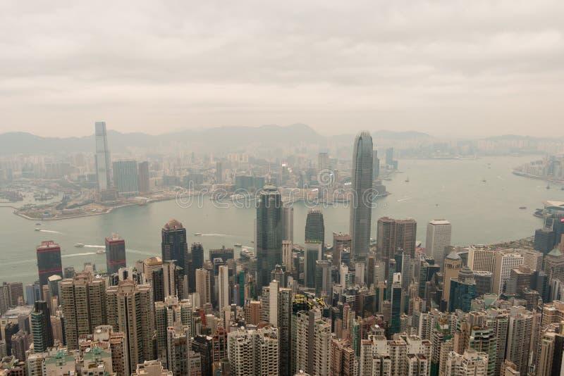 Hong Kong-horizon, mening van Victoria Peak royalty-vrije stock foto's