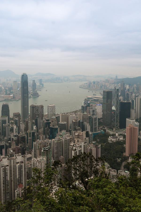 Hong Kong-horizon, mening van Victoria Peak stock afbeeldingen
