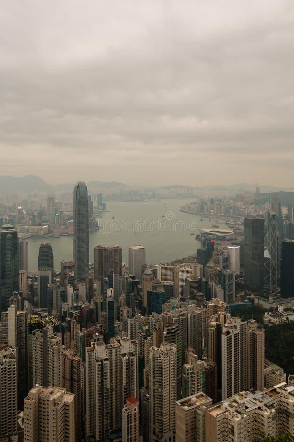 Hong Kong-horizon, mening van Victoria Peak stock foto's