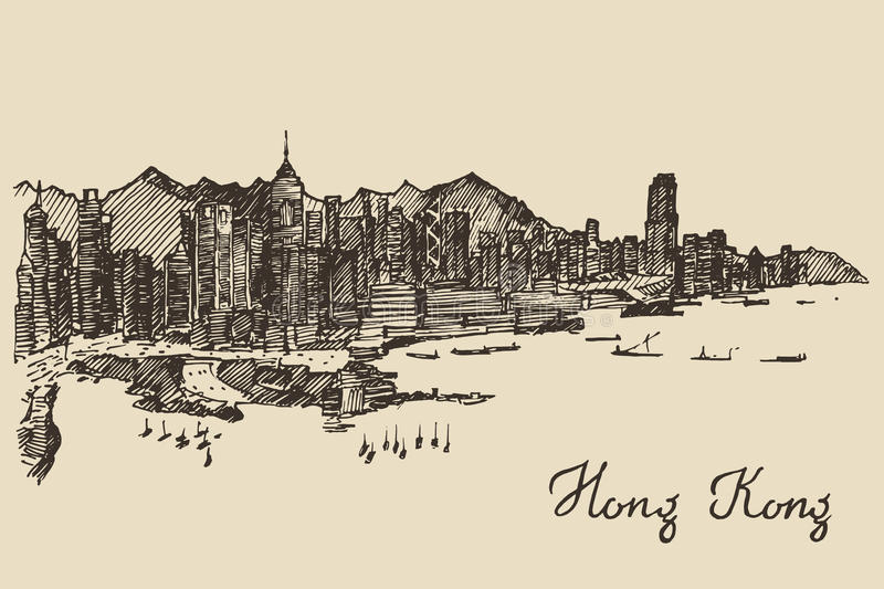 Hong Kong-horizon vectorhand getrokken schets vector illustratie