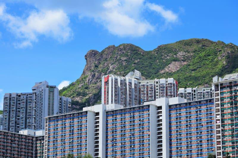 Hong Kong Housing debajo de la montaña Lion Rock imagen de archivo