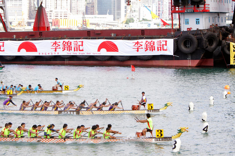 Hong Kong Int'l Dragon Boat Races 2012. Over 6,000 of the world's best dragon boat athletes will converge on Victoria Harbour for two major racing events: the royalty free stock images