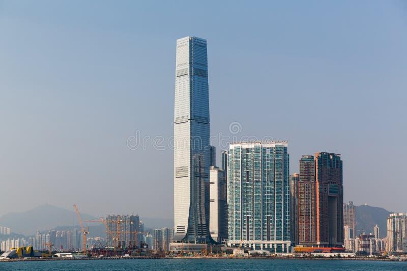 Hong Kong International Commerce Centre-Horizon in de loop van de dag royalty-vrije stock foto's