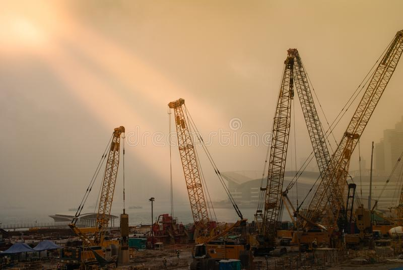 Construction site with Convention center on Hong Kong Island, China stock photos