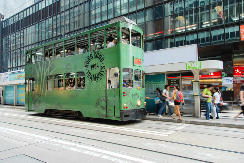 Hong Kong Island Hong Kong - September 19, 2009: 1904's Hong Kong Tram arkivfoton