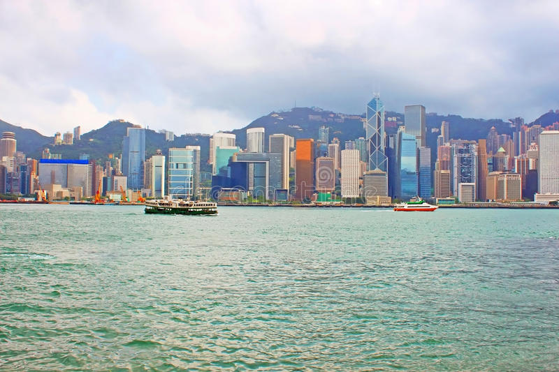 Hong Kong Island from Kowloon royalty free stock photo