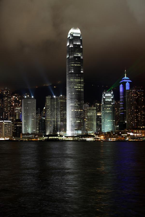 Hong Kong Island light show stock image